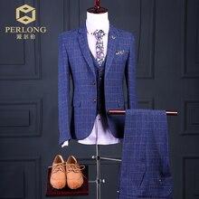 three Piece Custom Brand Men's Suits Blue Plaid Style Fashion Slim Fit Blazers High Quality Wedding Prom Business Male Tuxedo
