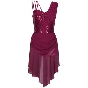 Image 5 - נשים מבוגרים שיפון בלט שמלת ספגטי רצועות שרוולים פאייטים סדיר מודרני ריקוד בלט התעמלות בגד גוף שמלה