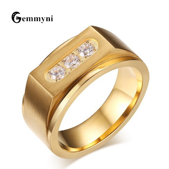 Gemmyni Jewel Store 2017 New Trendy Wedding Bands Rings For Men Love Gold Color Stainless Steel AAA CZ Promise Engagement Ring Male Titanium Jewelry