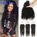 Annabelle Hair Brazilian Deep Curly With Closure 4Bundles8A Grade Virgin Unprocessed Human Hair Brazilian Deep Wave With Closure