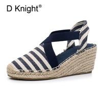 Women Espadrilles Wedge Sandals 2018 Summer Canvas Platform Wedges Fashion Slip On Ankle Strap Stripe High Heel For Female Shoes