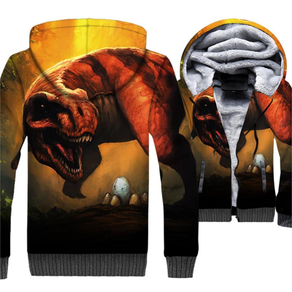 Dinosaur Jackets 3D Print Hoodie Men Crossfit Hooded Sweatshirt Winter Thick Fleece Warm Harajuku Coat Hipster Cool Streetwaer