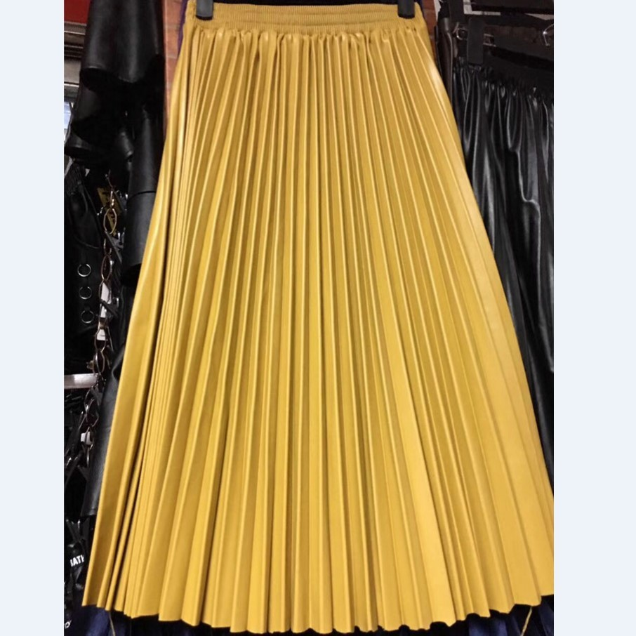 LANMREM 2020 autumn fashion new PU leather pleated skirt elastic high waist all match female s