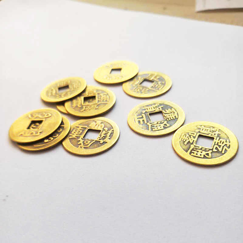 23mm จีน Feng Shui ตกแต่ง Lucky I Ching Dynasty โบราณทองแดงเหรียญ 8 5 สิบจักรพรรดิโบราณโชคลาภเงิน home Decor