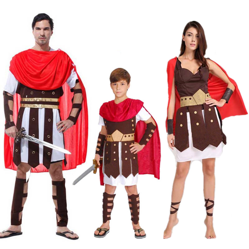 Woman Men Boy Childrens Kids King Ancient Rome Italy Warrior Soldier Masquerade Cosplay Costume Carnival Party