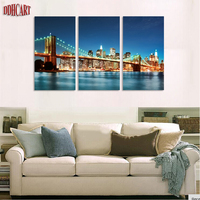 Beautiful City And The Bridge In The Evening Under The Sky Free Shipping 3 Panels Canvas