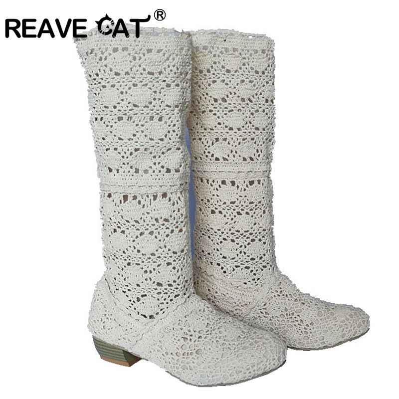 REAVE KEDI Örgü Bahar Yaz çizmeler Kesme ayakkabı Kadın ayakkabı yarım çizmeler Kare topuklu Siyah Kahverengi Beyaz Kumaş Satışı Moda