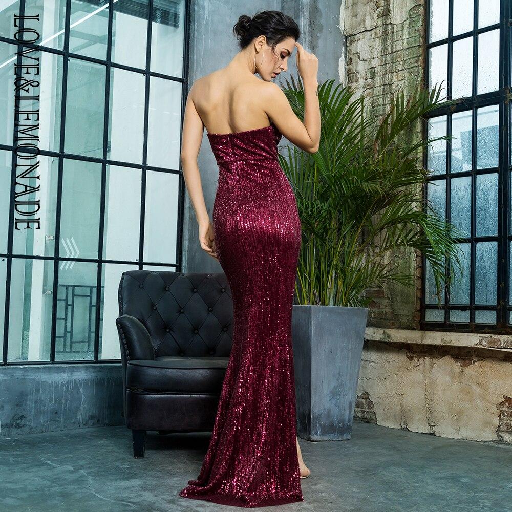Love&Lemonade  Wine Red  Cut Out Fish  Shaped Elastic Sequin Material Long Dress LM81142