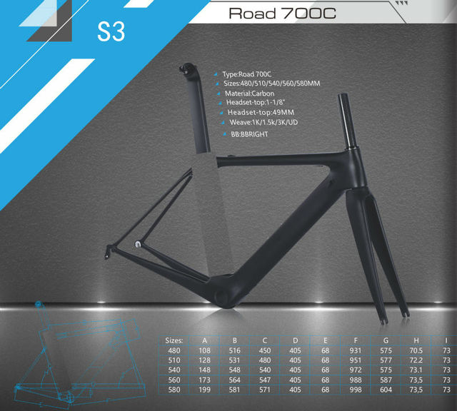 Cheap 2016 Newest S3 700C Road bicycle matte UD full carbon fibre bike frames carbon fork seatpost headsets BBright parts Free ship
