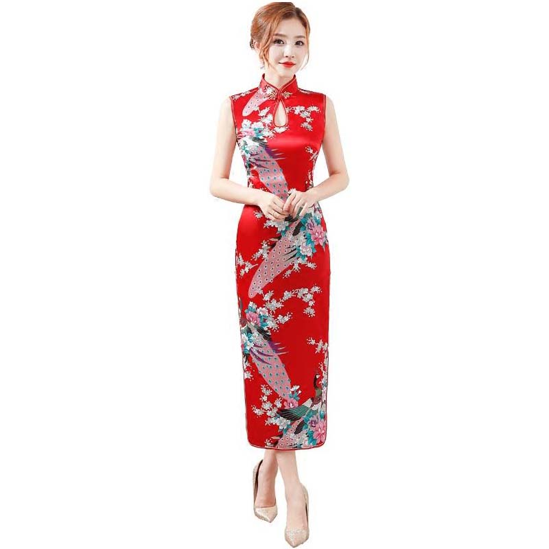 b2d8a0fd3 Detail Feedback Questions about Red Print Flower Sleeveless Chinese Dress  Rayon Long Qipao Sexy Dripping Cheongsam Summer Women Button Dress S M L XL  XXL on ...