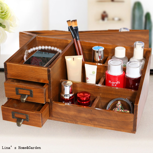 Marvelous Tabletop Vintage Brown Pine Cosmetic Wooden Jewelry Box In Storage Drawers  From Home U0026 Garden On Aliexpress.com | Alibaba Group