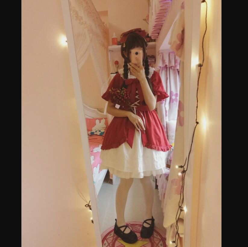 Giapponese Kawaii Ragazza Lolita Poco Cappuccio Di Guida Rosso Carino Mantello Aperto In Pizzo Vittoriano Abito Retrò Palazzo Dolce Lolita Op Loli Impermeabile, Resistente Agli Urti E Antimagnetico