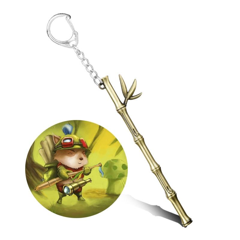 League Legends Keychain for Women Man LOL Jewelry Teemo Bamboo Weapon Model Keyrings