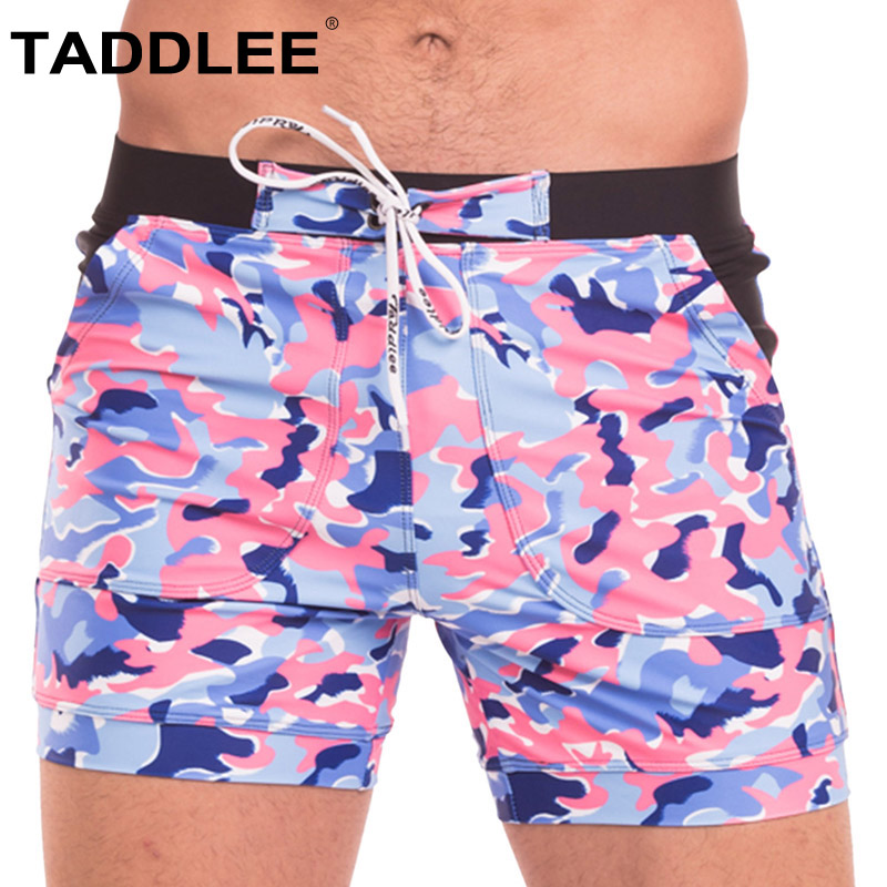 Taddlee Brand Sexy Men's Swimwear Swimsuits Gay Plus Size Long Basic Camo Board Shorts Swim Boxer Trunks Quick Dry Beach Bottoms