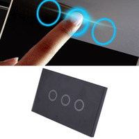 Professional 3 Way Gang Smart Touch Switch Light Wall Switch Control Glass Panel With LED Backlight