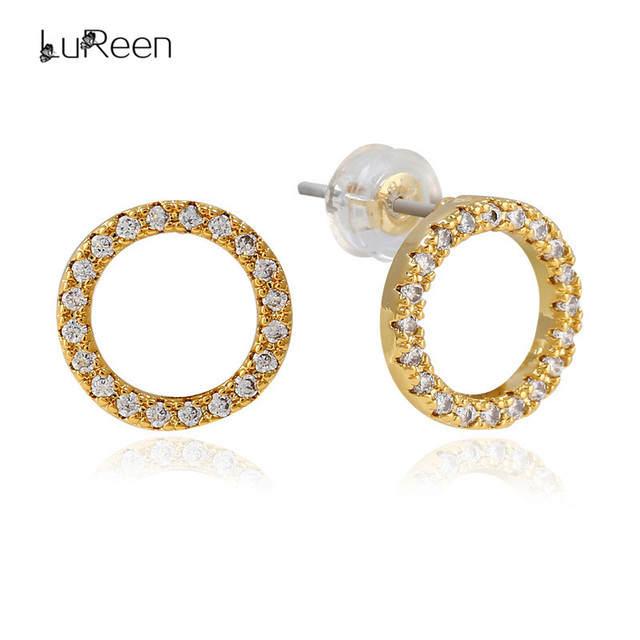 Lureen Bling Micro Pave Cz Zirconia Circle Stud Earrings For Women Gold Round Back Earring Mens