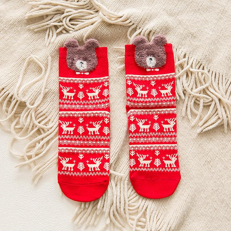 Female Autumn Winter New Year Socks Women Cartoon Animal Pattern Cotton Socks 4 Color Cute Girl Fashion Christma Socks