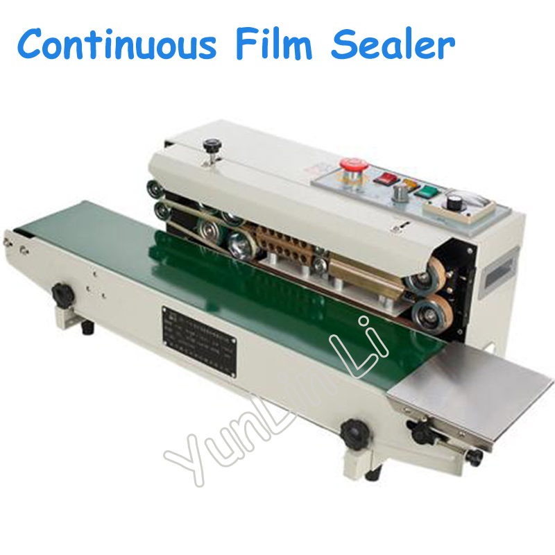 Continuous Film Sealing Machine Plastic Bag Package Machine Band Sealer Horizontal Heating Sealing Packing Machine FR-770 automatic continuous plastic film sealing machine for food cosmetic potato chips dbf 1000 110v 60hz