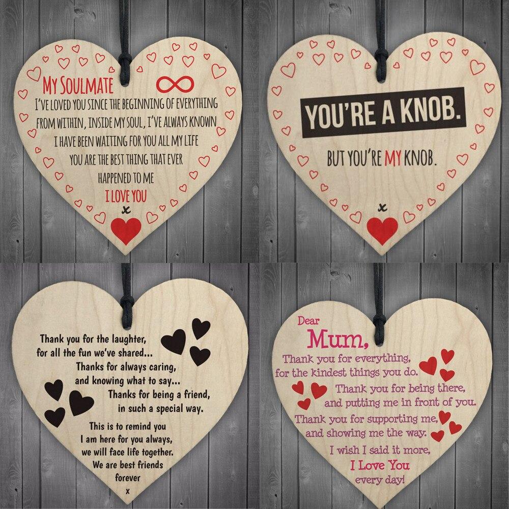 Signo de placa de Madera de Corazón Regalo Bebé Boda Hogar Decoración Para Colgar De Aniversario