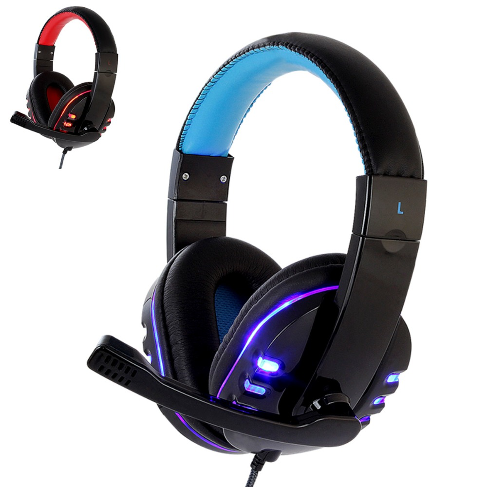 CH1 stereo headphone headset casque Deep Bass Computer Gaming Headset PS4 with Mic LED Light for PC Game Gamer Earphone image