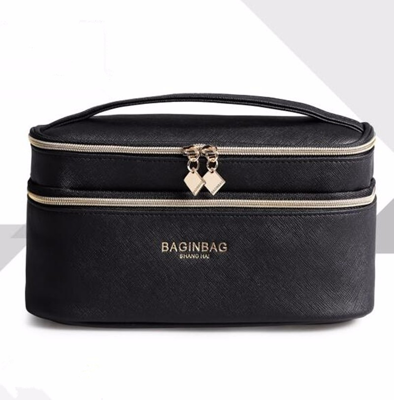 Baginbag Double Layer Cosmetic Bag Cross PU Cosmetics Multifunctional Make Up Makeup Bag Toiletry Bag trousse maquillage femme 13