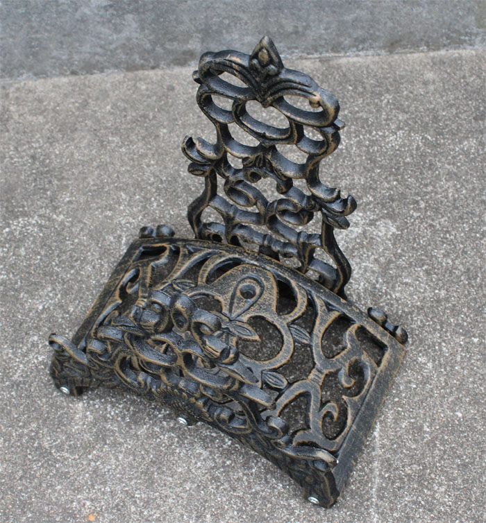 Носач црева од алуминијума Винтаге антикни стил Зидни носач Браон орнате Хосе Реелс Хангер складишни сталак за викендицу и башту