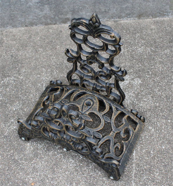 Hose Holder Cast Aluminum Vintage Antique Style Wall Mount Brown Ornate Hose  Reels Hanger Storage Stand