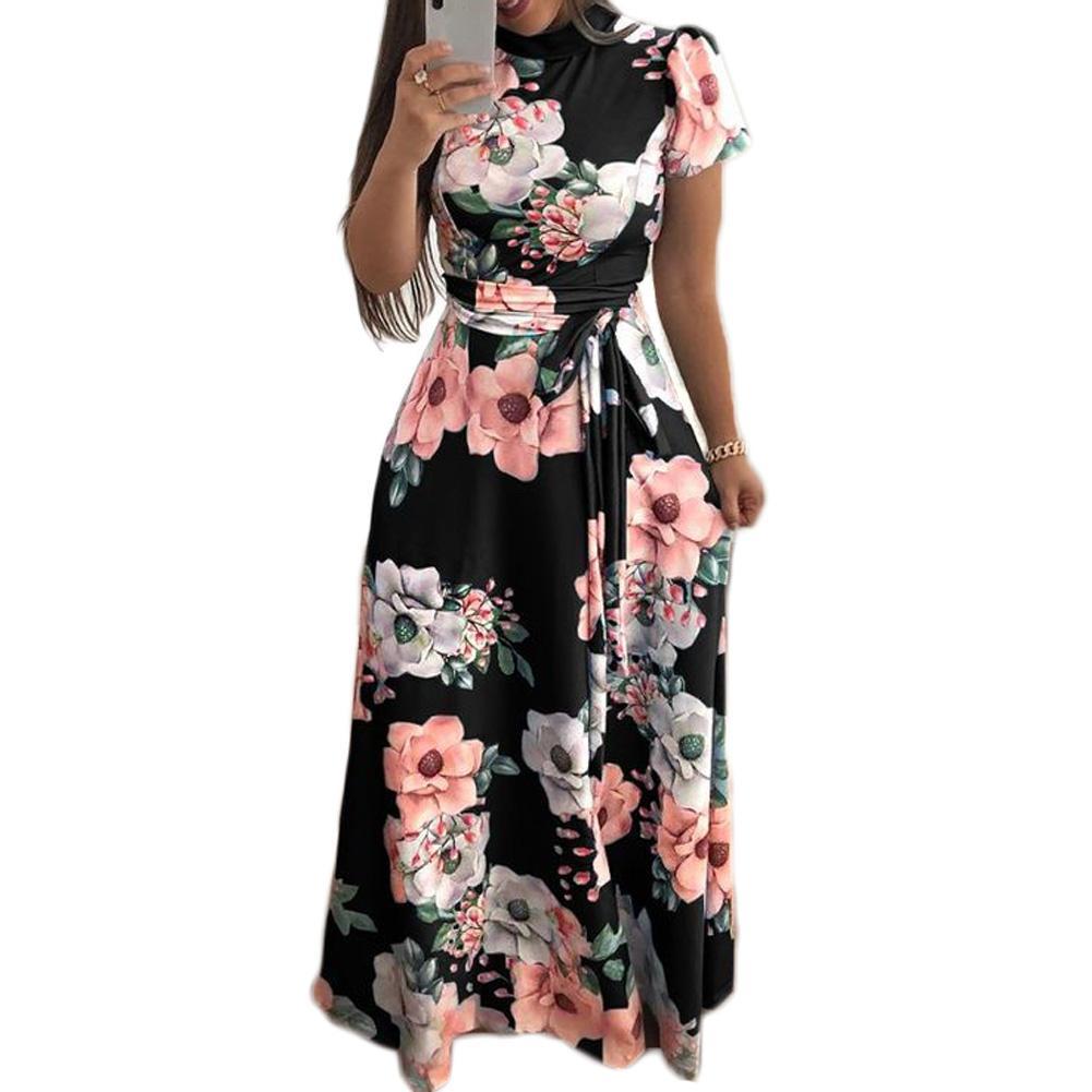 fdb6d7222 2018 Fall Dress O Neck Ladies Womens Autumn Bohemian Beach Short Sleeve  Empire Printed Floral Maxi Dress Holiday Long Sundress -in Dresses from  Women's ...