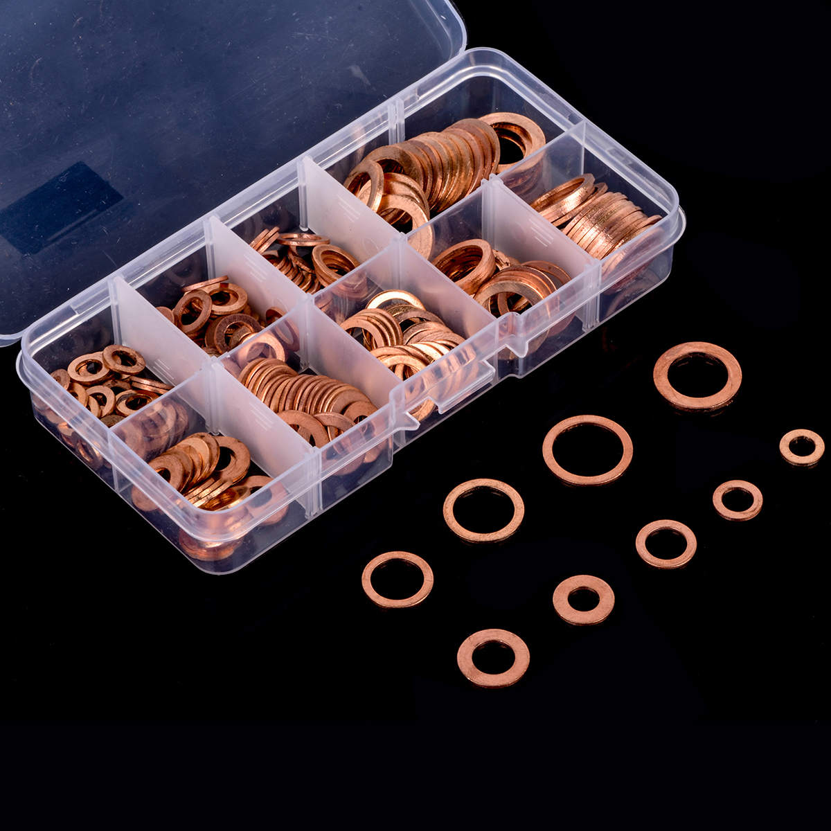 200pc Copper Washer Gasket Set Assorted Flat Ring Solid Seals Placemat Bowl Plug Oil Seal Parts Tool Fittings Hardware Fastener200pc Copper Washer Gasket Set Assorted Flat Ring Solid Seals Placemat Bowl Plug Oil Seal Parts Tool Fittings Hardware Fastener