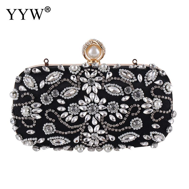 Bridal Clutch Floral Bag Women Crystal Evening Bag Wedding Party Handbags Purse Lady Diamond Rhinestone