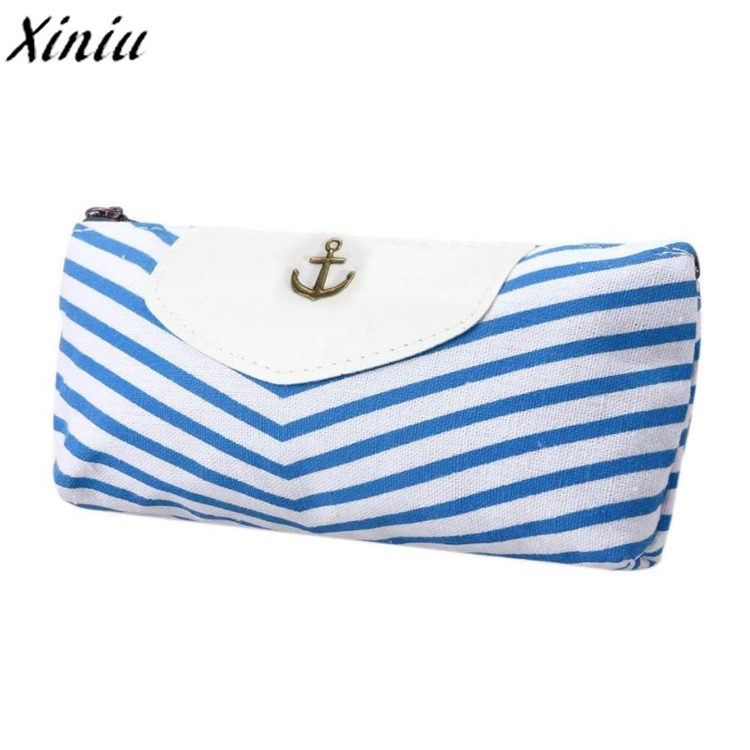 Student Navy Canvas Pen Pencil Case High Quality Stripes Coin Purse Fashion Zipper Pouch Bag New Estojo De Lapis #6915