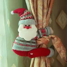 Рождественская мультяшная Санта-Клаус Снеговик занавеска С лосями Tieback занавеска с пряжкой держатель для спальни крючок зажим Декор для дома