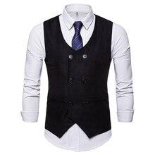 Большой размер Мужская костюм жилет двубортный карманы украсить Повседневный стиль замши смесей сплошной цвет жилет осенне-зимняя одежда