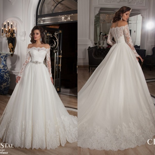 Long Sleeves Boat Neck Vintage Ball Gown Wedding Dresses 2017 Custom ...