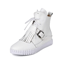 Belt Buckle Design Korean Style Round Toe Lace-up Nakde Boots With Tassel 2016 Newest Discount Cheap Soft-bottomed Booties Shoes