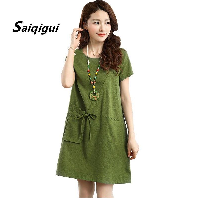 96333b6fa3 Saiqigui 2019 Summer Manga curta Pockets mulheres vestido casual vestido de  Linho de algodão solto Uma Linha Sólida o-pescoço vestidos de festa