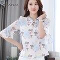 Clothing ruffles flor imprimiram a camisa blusa chiffon das mulheres plus size tops blusa meia manga tops camisa assentamento 2017 nova hot