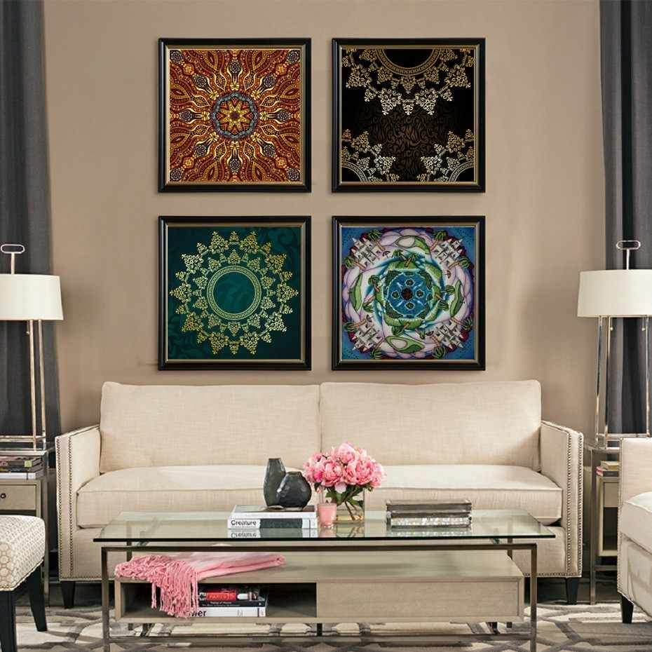 Traditional Beautiful Thangka Wall Art Mandala Yoga Canvas Paintings Print and Poster Wall Pictures for Living Room Home Decor