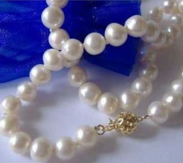 "Venta caliente nuevo Estilo>>>>> 7-8 MM AA + Blanco de Agua Dulce Collar de Perlas Cultivadas de 17"""