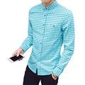 Los hombres de la primavera camisetas de manga larga nueva moda de los hombres camisa a cuadros marca clothing plus tamaño ropa 100% algodón camisa casual mcl079
