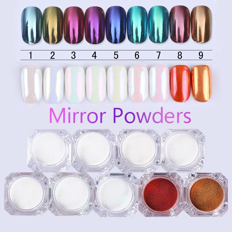 NASCIDO BONITA 1 Caixa 1g Espelho Prego Pó Glitter Ouro Azul Roxo Poeira Manicure Nail Art Glitter Chrome Pigmento Decoração pó