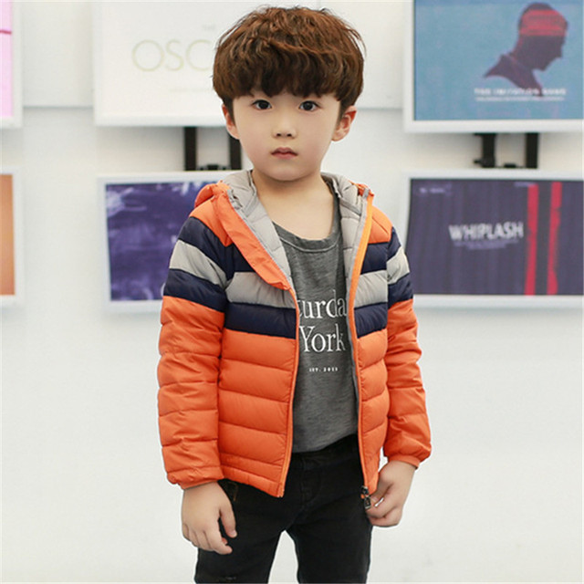 7ff93652b Patchwork Hooded Girls Boys Winter Coat Down Parka Long Sleeve Boys ...