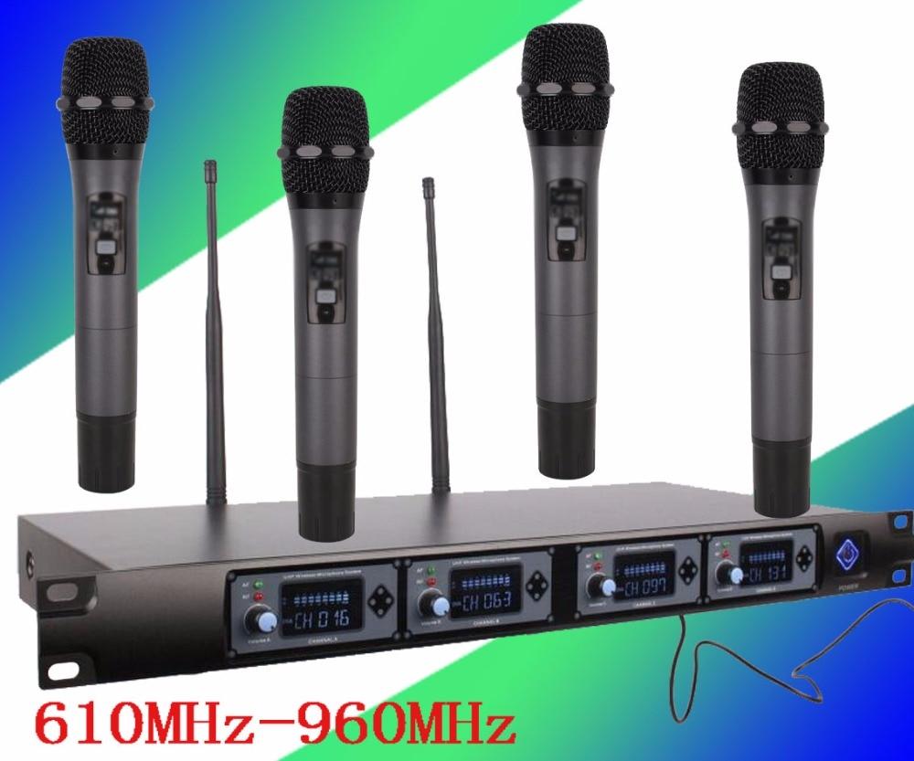 Micro professionnel 4 canaux UHF dynamique professionnel 4 micro à main + système de Microphone sans fil karaoké U4000U