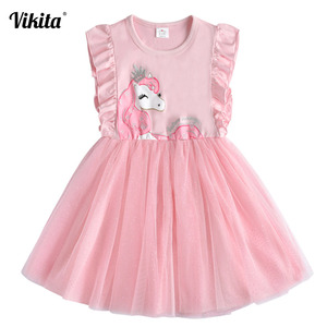 VIKITA Brand Girls Unicorn Summer Dresses Children Sequins Tutu Dress Kids Flare Sleeve Cotton Frocks Baby Girl Princess Clothes(China)