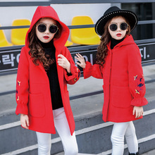 2017 Top Quality Girls Winter Wool Coat Children's Fashion Woolen Overcoat Kid Fashion Hooded Outerwear Christmas Dress Clothing