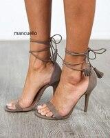 Women Stylish New Style Grey Suede Stiletto Heels Tassel Open Toe Dress Sandals Elegant Fringe Lace