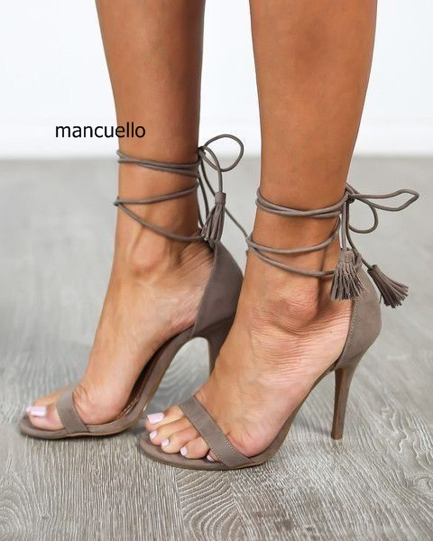 Women Stylish New Style Grey Suede Stiletto Heels Tel Open Toe Dress Sandals Elegant Fringe Lace Up Summer S Shoes In High From On