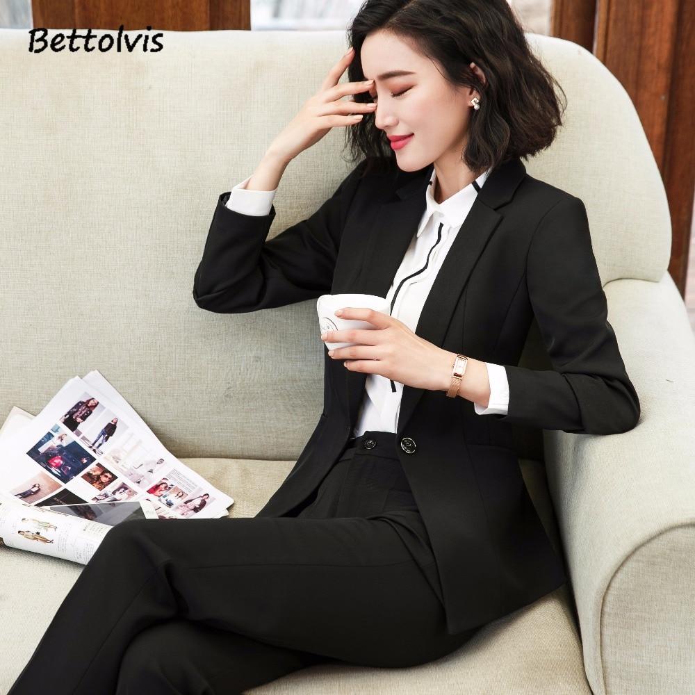 Bettolvis 2018 Spring Autumn formal female blazer pants suits 3XL OL slim office ladies trousers work wear blazer suits