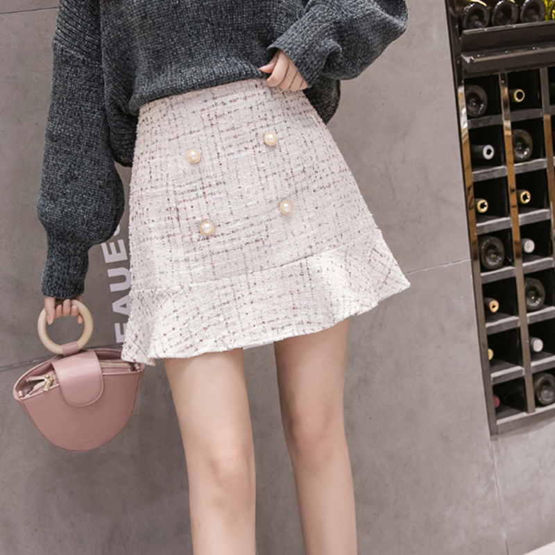 Ruffles Winter Tweed Skirts Women Vintage Mini Pencil Skirt Plaid Wool Skirts Korean Bodycon High Waist Elegant Lady Button Sexy