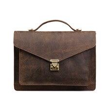 ROCKCOW Men's Full Grains Leather Front Lock Professional Briefcase Leather Laptop Bag 0189